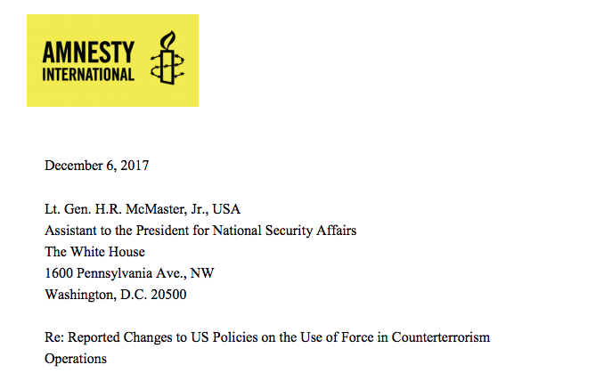 Amnesty Letter to McMaster