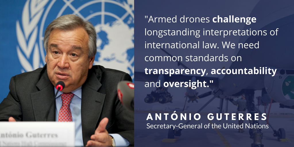 Guterres quote on armed drones.