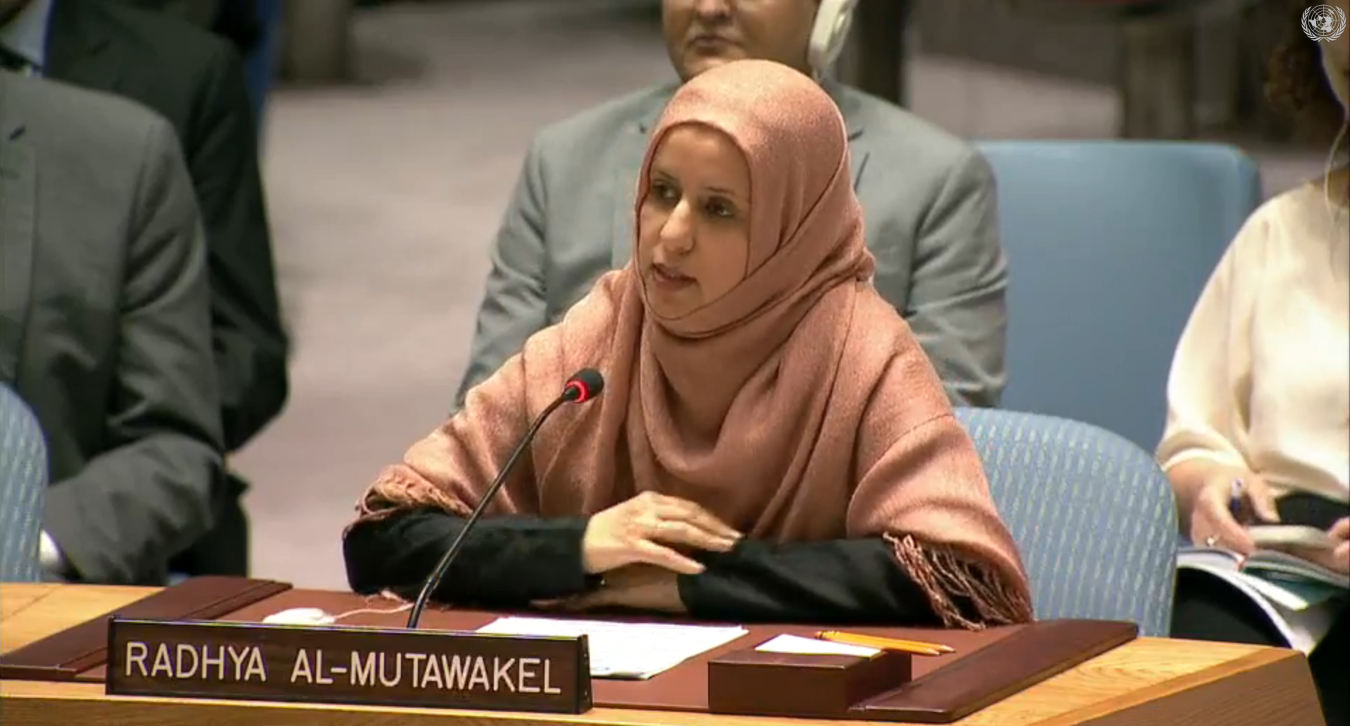 Radhya Almutawakel at a UNSC meeting on Yemen, May 30th, 2017.