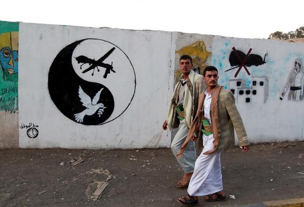 A drone mural in Yemen