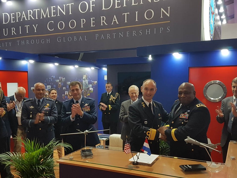 Vice Admiral Arie Jan de Waard and Director Defense Security Cooperation Agency Lieutenant General Charles Hooper signed the Letter of Acceptance for the Reaper drone.